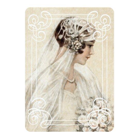 Bridal Shower Invitation 5x7 Vintage Bride w/Frame