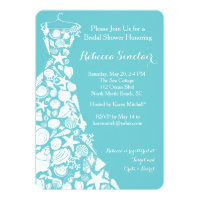 Bridal Shower Invitation, Beach, Sea Shell Dress Card