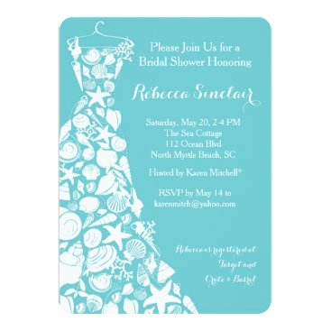 Beach Themed Bridal Shower Invitation, Beach, Sea Shell Dress Card