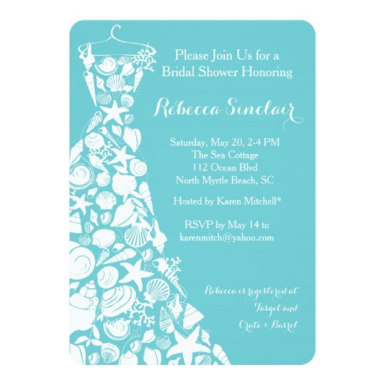 bridal shower invitation, beach, sea shell dress card | zazzle, Wedding invitations