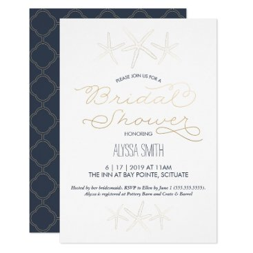 Beach Themed Bridal Shower Invitation - Beach, Starfish, Gold