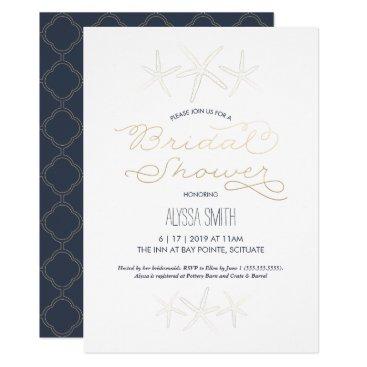 Beach Themed Bridal Shower Invitation - Beach, Starfish, Gold