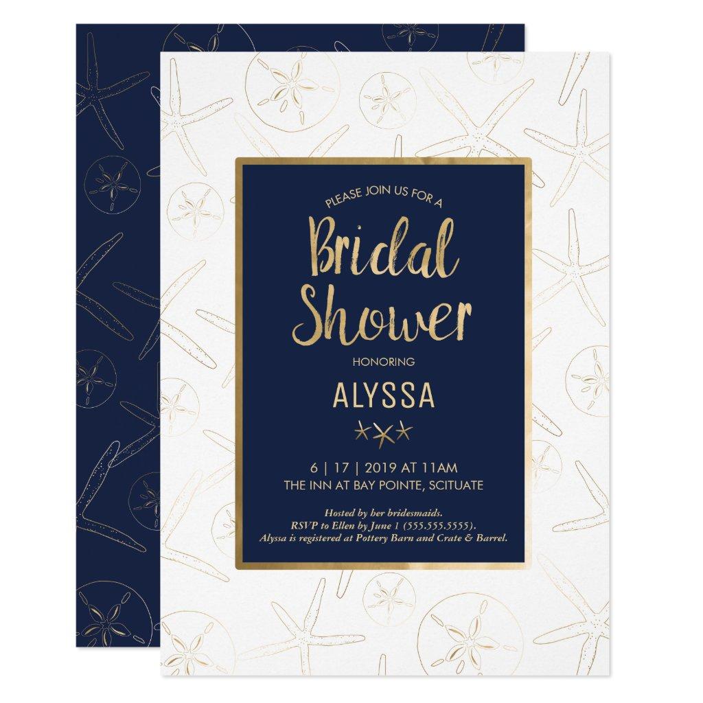 Bridal Shower Invitation, Beachy, Gold Starfish Invitation
