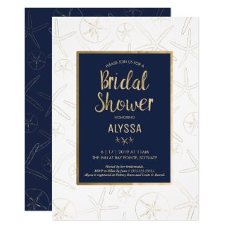 Bridal Shower Invitation, Beachy, Gold Starfish Invitation