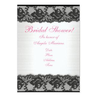 "Bridal Shower invitation black lace and satin 5"" X 7"" Invitation Card"