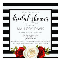 Bridal Shower Invitation Black White Stripes Rose