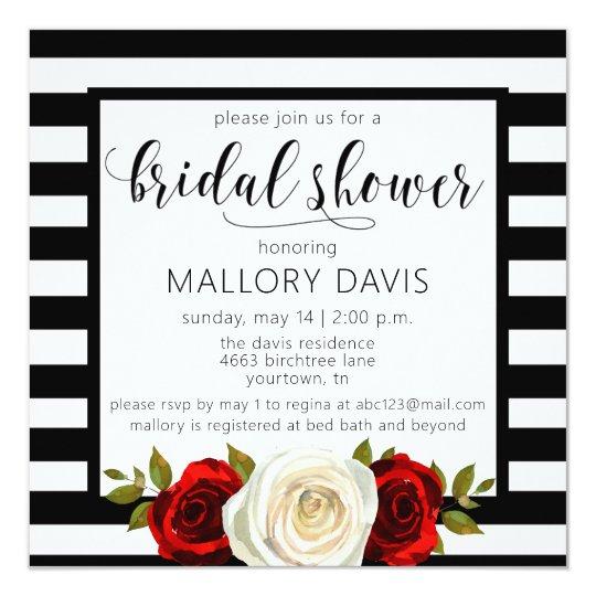 Bridal Shower Invitation Black White Stripes Rose Zazzlecom