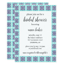 Bridal Shower Invitation - Blue Green Pattern