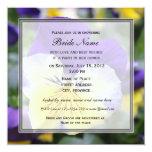 Bridal shower invitation, blue pansy flower custom announcements