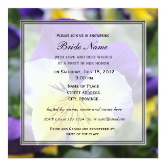 Bridal shower invitation, blue pansy flower card
