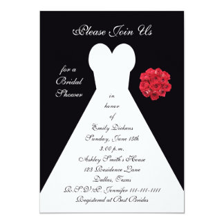 Bridal Shower Invitation - Bridal Gown Red Roses Cards