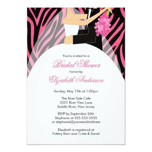 Bridal Shower Invitation Bride Groom Pink Zebra