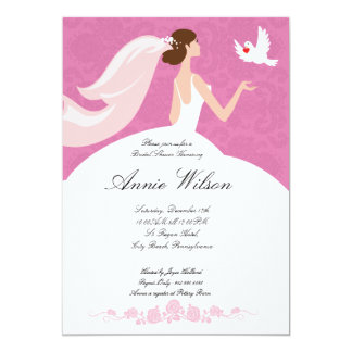 Bridal shower invitation card with white pigeon