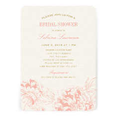Bridal Shower Invitation | Coral Floral Peony