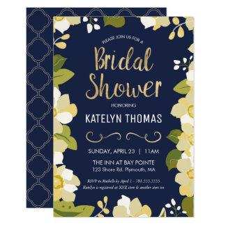 Bridal Shower Invitation, Customize Floral w/ Gold Card