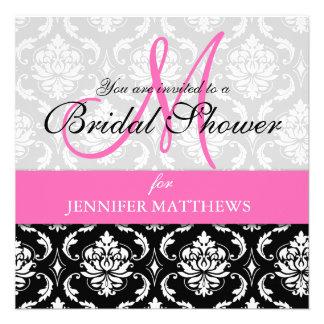 Bridal Shower Invitation Damask Hot Pink Monogram