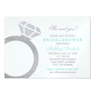 "Bridal Shower Invitation | Diamond Ring Design 5"" X 7"" Invitation Card"