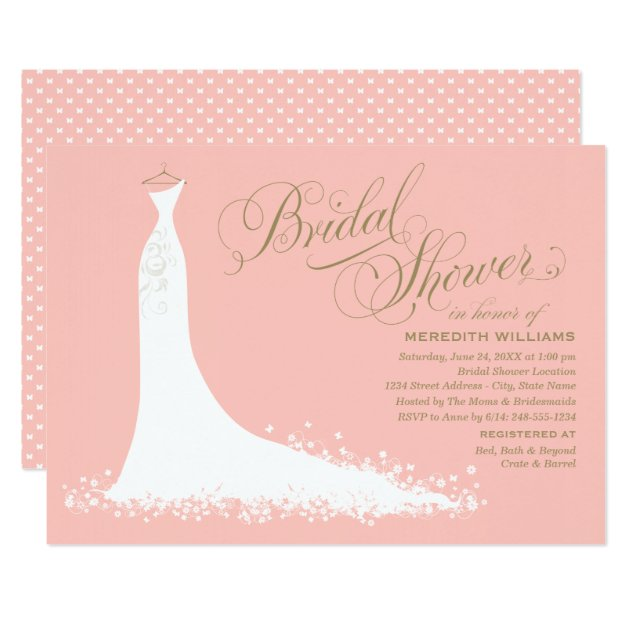 Bridal Shower Invitation Elegant Wedding Gown Zazzle Com