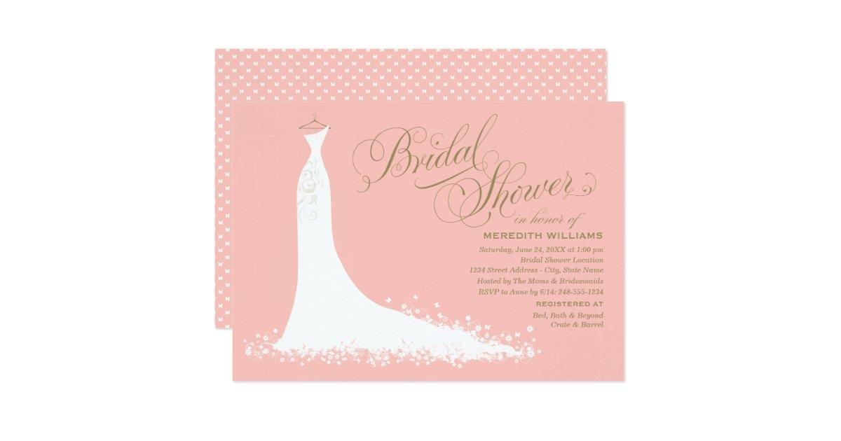 Bridal shower invitation elegant wedding gown for Elegant bridal shower invitations