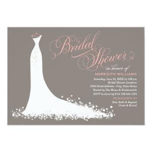 Bridal Shower Invitation | Elegant Wedding Gown Custom Announcements