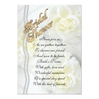 Bridal shower invitation elegant white roses