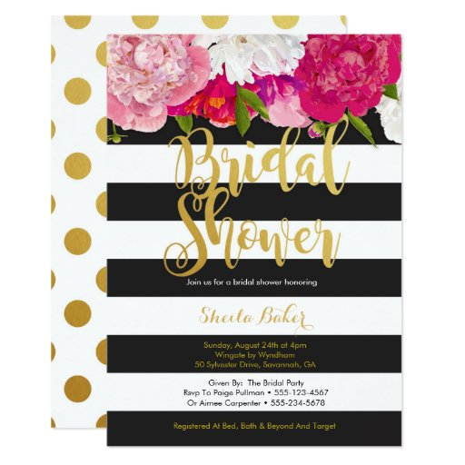 Bridal Shower Invitation - Floral Black White