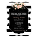 Bridal Shower Invitation, floral black & white Card