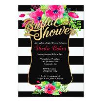 Bridal Shower Invitation - Floral Striped