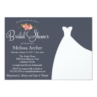 Bridal Shower Invitation, Floral & Wedding Gown Card