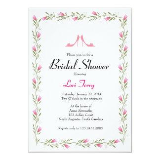 Bridal Shower Invitation - Flowers & Bridal Shoes