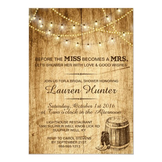 bridal shower invitation for a country wedding