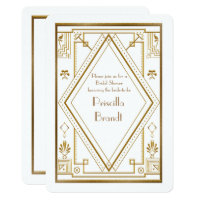 Bridal Shower invitation,great Gatsby gold white Card
