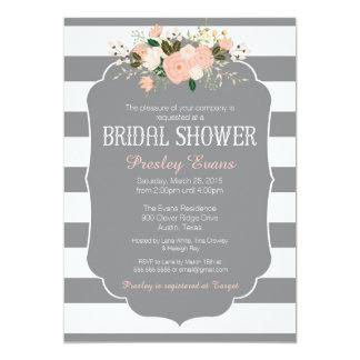 Bridal Shower Invitation, grey stripe peach floral Card