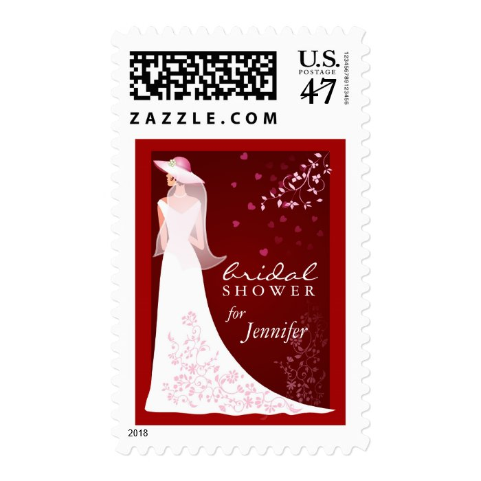 Bridal Shower Invitation - Holiday Red and White Postage Stamp