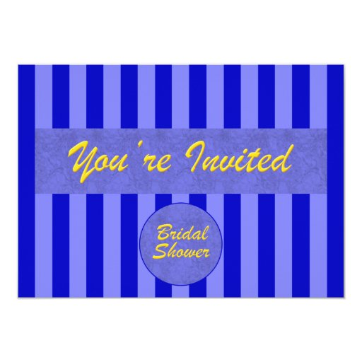 Bridal Shower  Invitation in Blue & Gold