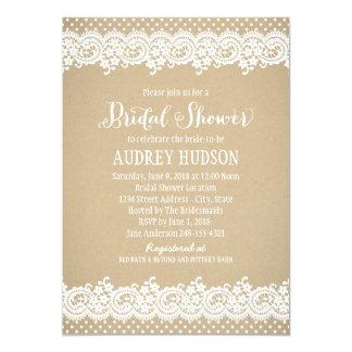 Bridal Shower Invitation   Lace and Kraft