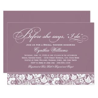 Bridal Shower Invitation   Mauve Floral Lace