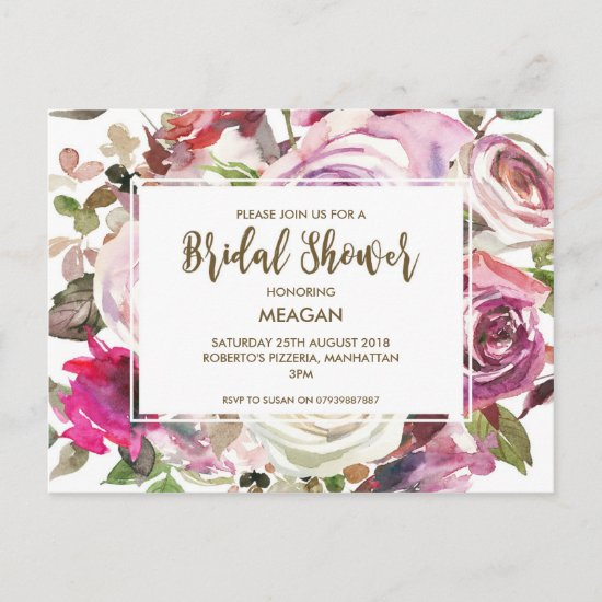 Bridal Shower invitation modern floral lilac