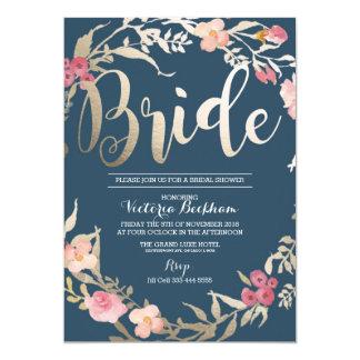 Bridal shower invitation, Navy floral foil bride Card