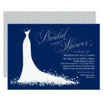 Bridal Shower Invitation | Navy Wedding Gown