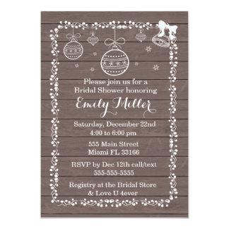 Bridal Shower Invitation Ornament Rustic Wood