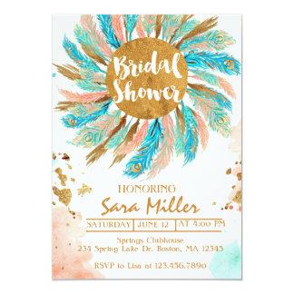 Bridal Shower Invitation, peacock feathers invitat Card