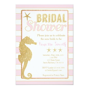 Beach Themed Bridal Shower Invitation Pink and Gold Seahorse