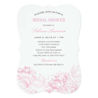 "Bridal Shower Invitation | Pink Floral Peony 5"" X 7"" Invitation Card"