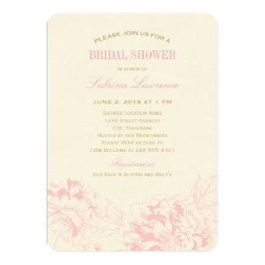 Bridal Shower Invitation | Pink Floral Peony