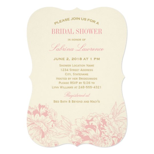 Bridal Shower Invitation | Pink Floral Peony