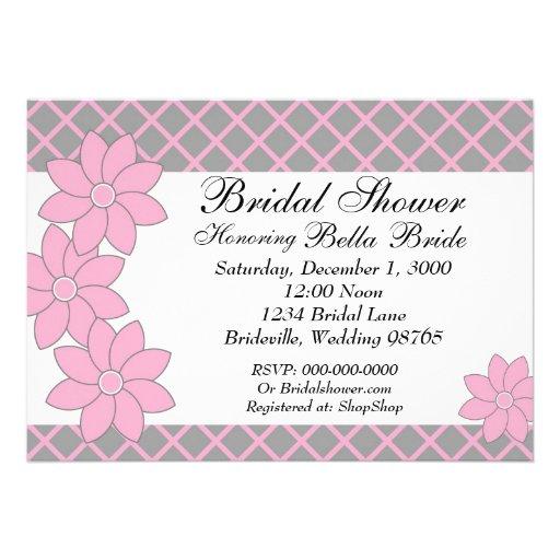 Bridal Shower Invitation Pink & Grey Floral