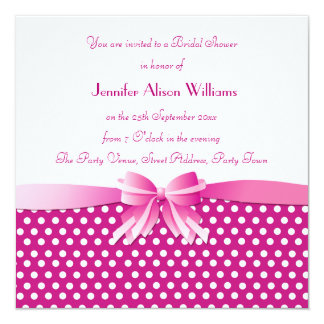 Bridal Shower Invitation Pink Polka Dots with Bow
