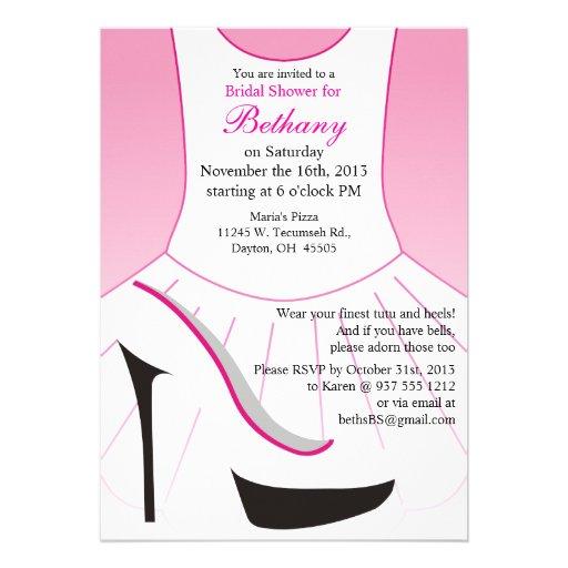 Bridal shower invitations bridal shower invitations high heels bridal shower invitation pink tutu high heels filmwisefo