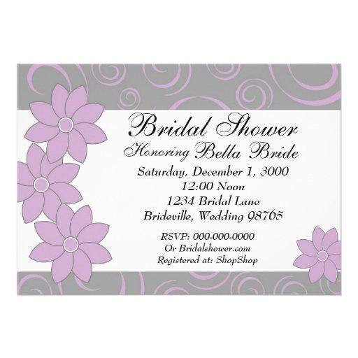 Bridal Shower Invitation Purple & Grey Floral